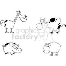 cow clipart black and white. Beautiful Black Cartoon Funny Comical Comic Vector Farm Farmer Pig Cow Horse Sheep Black  White Animal Animals For Cow Clipart Black And White