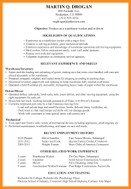 Resume Sample For Warehouse Worker 12 13 Other Qualifications Resume Lasweetvida Com