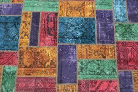patchwork rug purple green orange red in 200x150 4 5