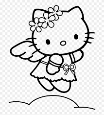 Hello kitty s for kidsb679. Hello Kitty Black And White Clip Art Hello Kitty Angel Coloring Pages Free Transparent Png Clipart Images Download