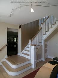 Apartment White Scheme Wooden Handrails for Stairs for Living Rooms Ideas  with white wall and wooden