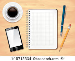 office desk clipart. notepad on office desk top view, photo realistic vector clipart