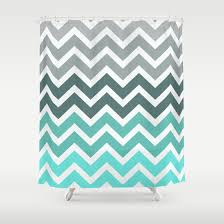Beautiful Teal Chevron Shower Curtains Fade Pattern Curtain By Rexlambo Intended Design Inspiration