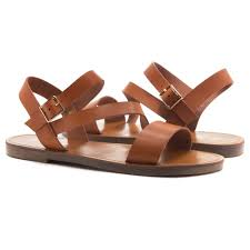 herstyle merina lightweight flat sandal with faux leather straps sandals cognac