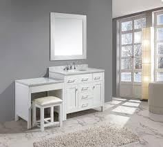 42 london single sink vanity set in white finish with one make up table in white