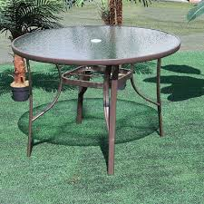 round glass top table metal frame