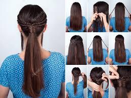 Jednoduchý účes Ohon Pletence Vlasů Návod Stock Fotografie