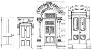front door drawing. Entrance · From Left To Right) 1. A Simple Four-panel Door Without Mouldings, Front Drawing R