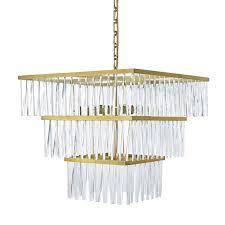 ellis square crystal chandelier brass
