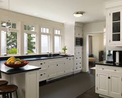 Contemporary White Kitchen Cabinets With Black Countertops L In Impressive Ideas