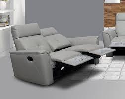 esf 8501 contemporary light grey italian leather recliner sofa set 3 pcs modern for