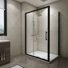 aquariss black 1200 x 900mm sliding door shower enclosure with easy clean glass with shower tray