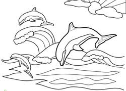 Hand drawn stylized dolphin with abstract colorful background. Dolphin Coloring Pages Printables Education Com