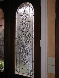 beveled and clear textured glass patio door panels