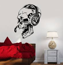 office gaming wall stickers alluring gaming wall stickers 0 hwhd vinyl decal gamer skull headphones
