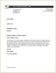 service contract cancellation letter letter of contract cancellation
