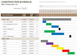 Scheduling Tool Excel Construction Schedule Template