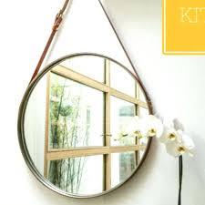 leather strap mirror photo round uk