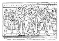 drawing from etruscan urn philoctetes diomedes and odysseus paris and