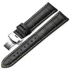 leather watch strap 18mm 19mm 20mm 21mm 22mm 24mm black brown embossed grain classic design replacement watch band silver polished deployment on on