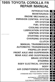 1985 toyota corolla rwd repair shop manual original gt s and sr5 table of contents
