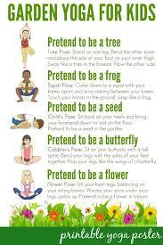 Yoga Pose Chart Poster Yoga Poses Garden Yoga For Kids Free Printable Poster