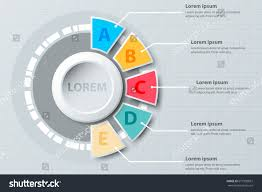 five topics colorful half pie chart stock vector  five topics colorful half pie chart 3d paper circle in center for website presentation cover