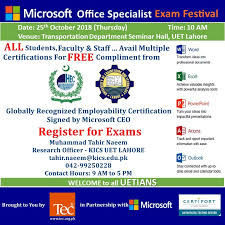 Microsoft Free Certification Attend Microsoft Exam Festival At Uet And Be Microsoft Certified