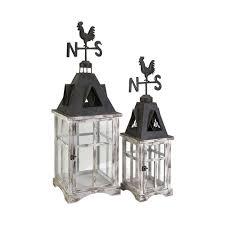 imax weather vane wood lanterns set of 2