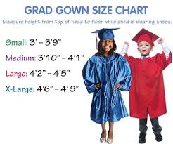 Cap And Gown Measurement Chart Graduation Gown Matte Finish Preschool Graduation