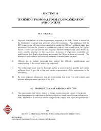 Technical Proposal Templates Section 18 Technical Proposal Format Organization And Content