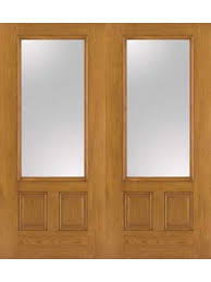 oak fiberglass impact french door 3 4 lite clear 6 8 double 2 panel by therma tru french