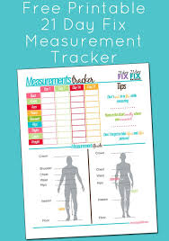 Beachbody Body Measurement Chart Free Printable 21 Day Fix Measurement Tracker