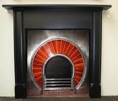 antique 1930s art deco slate surround fireplace