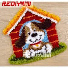 hot 3d latch hook rug kits diy needlework unfinished crocheting rug yarn cushion mat cute dog