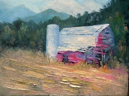rustic barn landscape painting rural landscape daily painting small oil painting 9x12x 75 palette knife painting