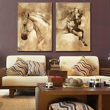 Oil Painting For Living Room 2 Pcs Set Modern European Oil Painting Horse On Canvas Wall Art