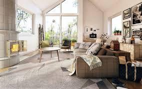 Plaid Living Room Furniture Living Room White Sofa White Coffee Table Pendant Light Painting
