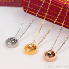 whole fashion women s never fade stainless steel love ring pendant necklaces 14k yellow gold rose gold silver wedding jewelry for girl gold chains