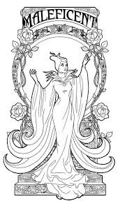 Maleficent Art Nouveau Lineart By Paola