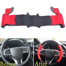 For Honda Civic 2016 2017 Steering Wheel Cover Wrap Trim Diy Black Red Leather Ebay Motors Parts Accessor Civic Accessories Honda Civic 2016 Honda Civic