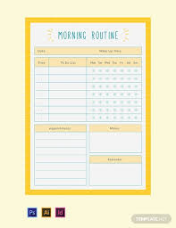 Free Morning Routine Planner Template Word Excel Psd