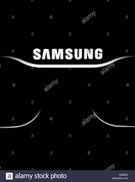 samsung led tv logo. stock photo - the samsung logo lit on a led tv in dark. for editorial use only led tv