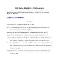 Work Cited Mla Works Cited Find The Errors Activity Quiz