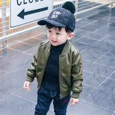 motorcycle pu leather jacket kids fall winter cool zipper coat black green toddler boy fashion overcoat