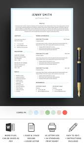 1 Page Resume Gorgeous Resume Template Word Professional 44 Page Resume 44 Page Resume Etsy
