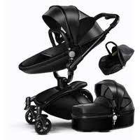 Wholesale 3 In 1 Leather Baby Stroller Set High Landscape Stroller System  Baby Pram 360 Rotation Pushchair with Bassinet and Car Seat