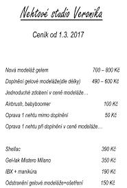 Ceník Veronika Pešková Nehtové Studio Veronika Jablonec Nad Nisou
