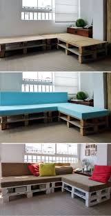 a comfortable diy wood pallet corner sofa with book storage space