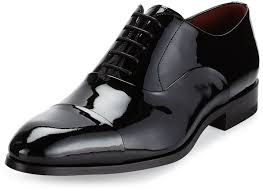 magnanni for neiman marcus cap toe patent leather oxford shoe black